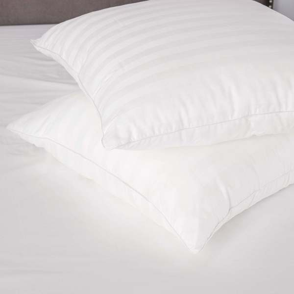 Luxury Cotton Decorator 28 x 28-inch Euro Square Pillows with Sateen Stripe (Set of 2)