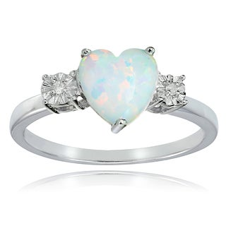 Glitzy Rocks Sterling Silver Created White Opal and Diamond Accent Heart Ring