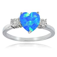 Glitzy Rocks Sterling Silver Created Blue Opal and Diamond Accent Heart Ring