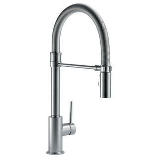 Delta Trinsic Pullout Single-Hole Kitchen Faucet 9659-AR-DST Arctic Stainless|https://ak1.ostkcdn.com/images/products/15872747/P22280630.jpg?impolicy=medium
