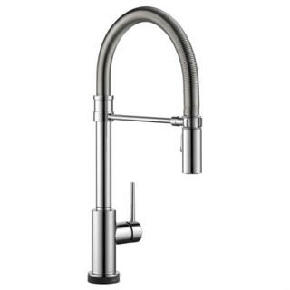 Delta Trinsic Single Handle Pull-Down Spring Spout Kitchen Faucet with Touch2O Technology 9659T-DST Chrome