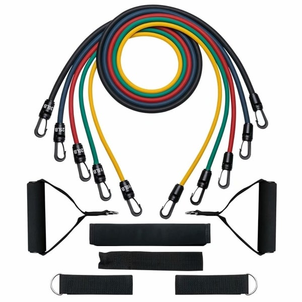 Resistance Band Set, Exercise Band Kit, Fitness Tubes, with Door Anchor, Ankle Straps, Workout Guide, Carrying Pouch
