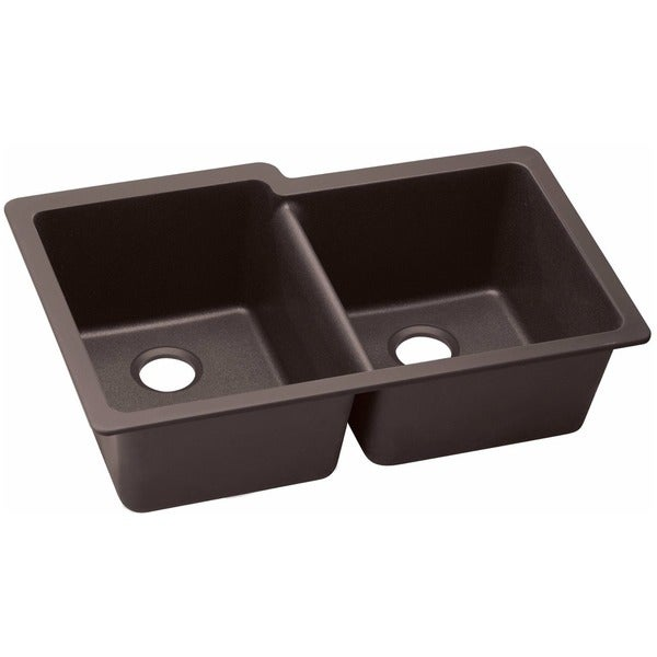 Elkay Luxe ELXU250RCN0 Chestnut Quartz Offset Double Bowl Undermount Sink