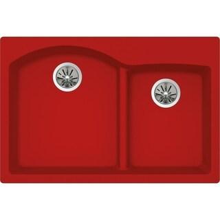 "Elkay Quartz Luxe 33"" x 22"" x 10"", Offset 60/40 Double Bowl Top Mount Sink with Aqua Divide, Maraschino"