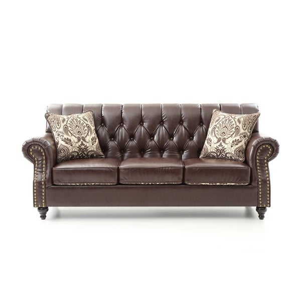 Shop LYKE Tufted Chocolate Brown Faux Leather Sofa - Ships ...