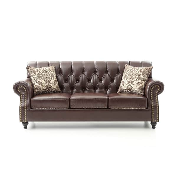 Excellent Shop Lyke Tufted Chocolate Brown Faux Leather Sofa Free Ncnpc Chair Design For Home Ncnpcorg