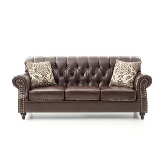 LYKE Tufted Chocolate Brown Faux Leather Sofa