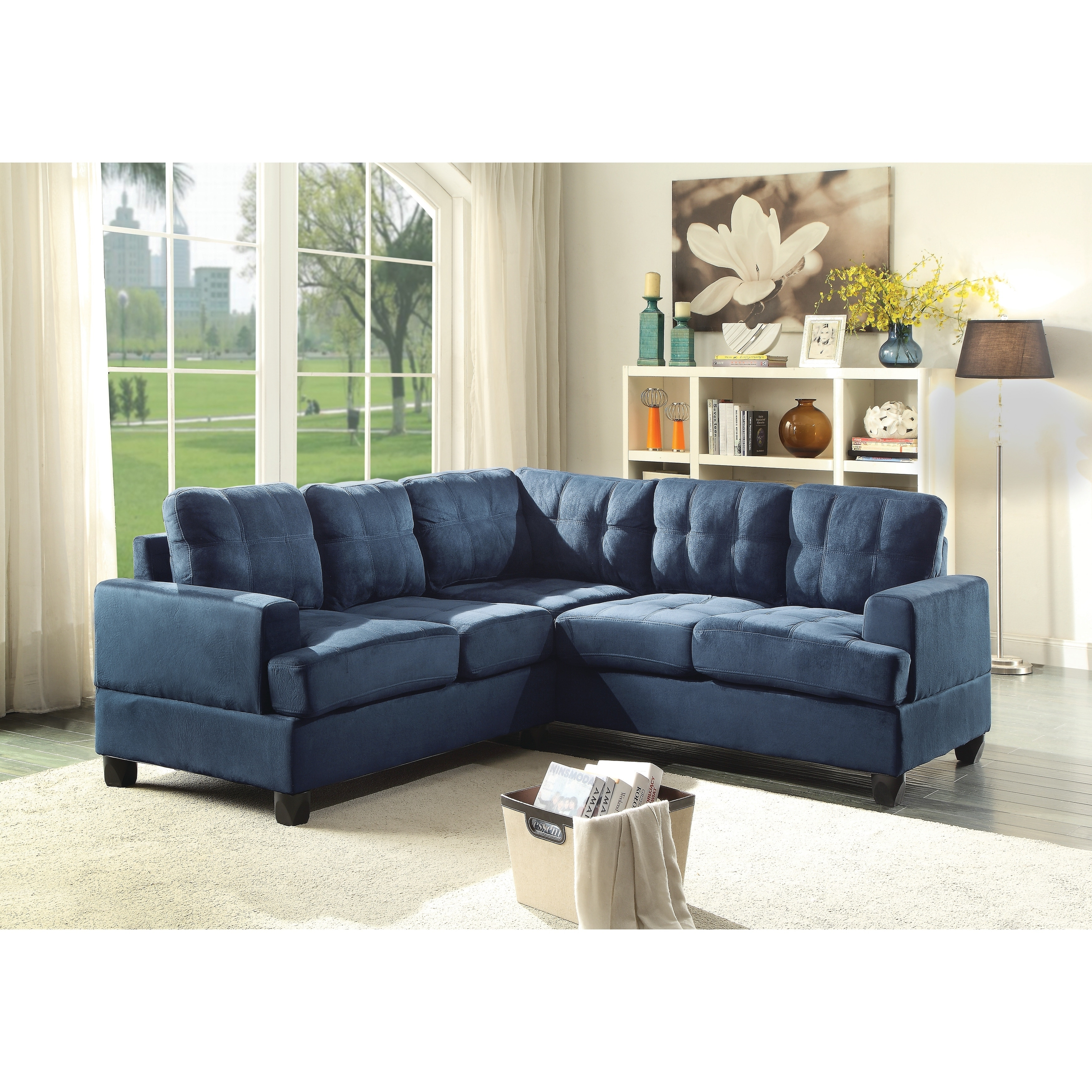 LYKE Home Contemporary Tufted Suede Sectional Sofa | eBay