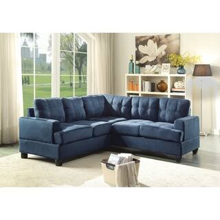 Lyke Home Contemporary Tufted Suede Sectional Sofa