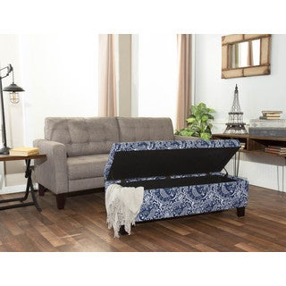 Crawford and Burke Anabelle Blue/White Storage Bench
