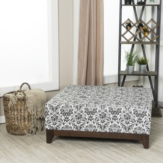 Crawfird and Burke Fielding Black and White Damask Large Square Ottoman