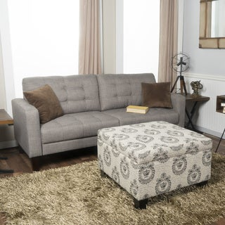 Crawford and Burke Canterbury Black and White Upholstered Storage Ottoman