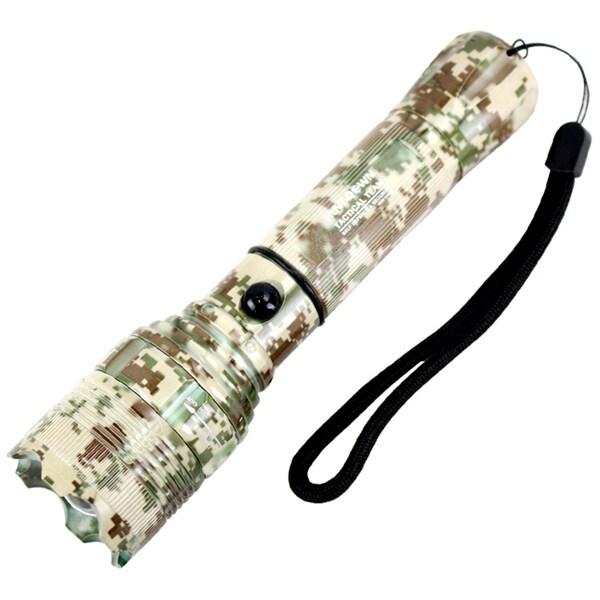 Hunt-Down 500 Lumens Digital LED Tactical Safety Flashlight - Dark Forest Camo