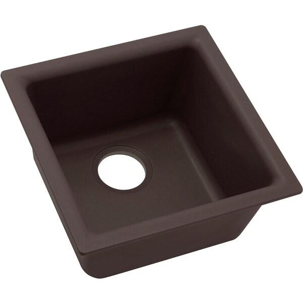 "Elkay Quartz Luxe 15-3/4"" x 15-3/4"" x 7-11/16"", Single Bowl Dual Mount Bar Sink, Chestnut"