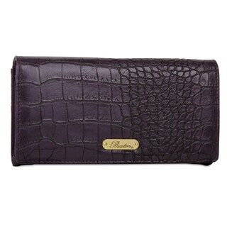 Buxton Nile Exotics Embossed Leather Expandable Clutch Wallet