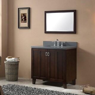 Infurniture Grey Quartz Top 36-inch Single-sink Bathroom Vanity in Brown Finish