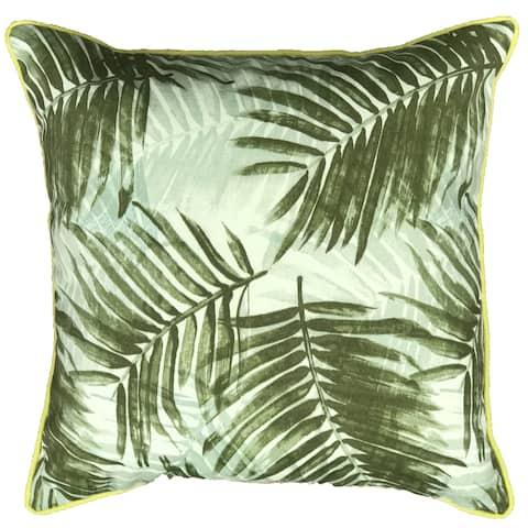 Jiti Green Leaves Floral Summer Sunbrella Lumbar Outdoor Pillow - 20 x 20 - 20 x 20