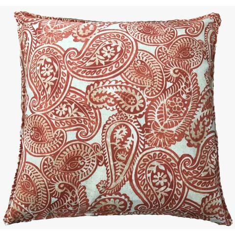 Jiti Orange Paisley Indian Outdoor Pillow - 20 x 20 - 20 x 20