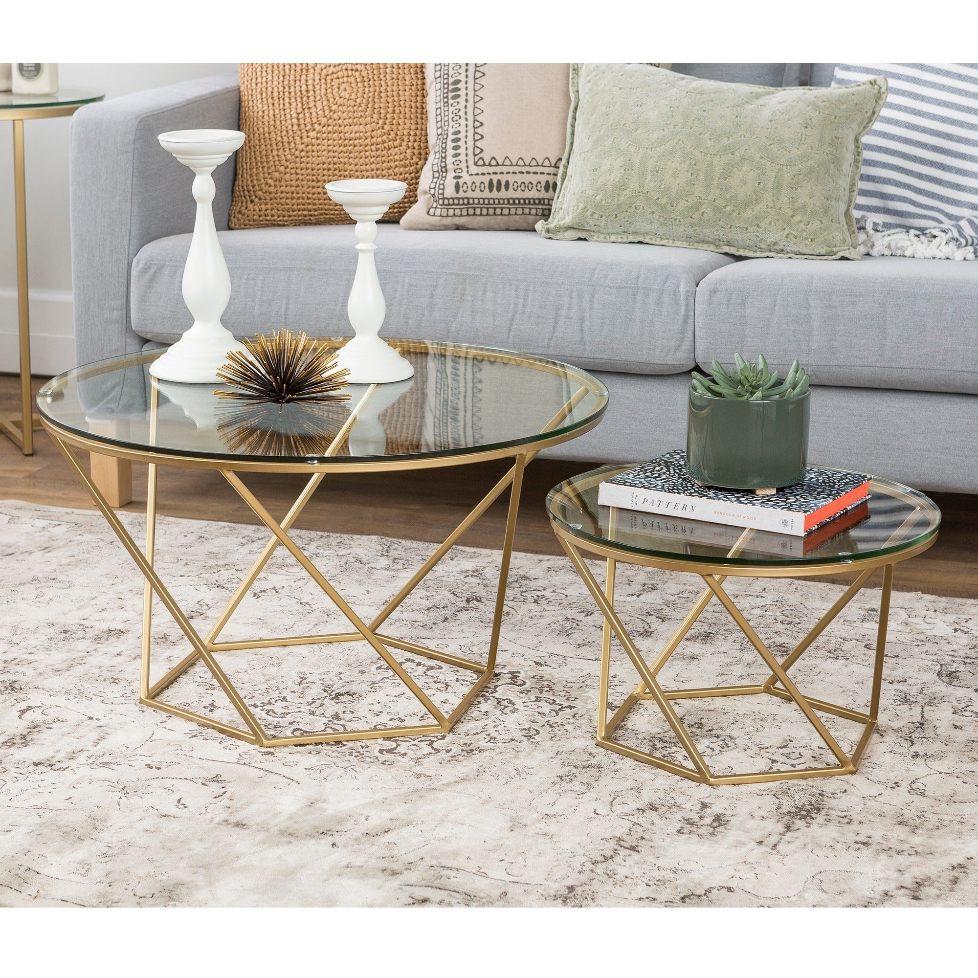 Geometric Glass Nesting Coffee Tables Free Shipping Orders