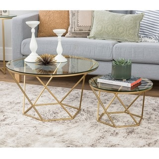 Bon Silver Orchid Grant Geometric Glass Nesting Coffee Tables