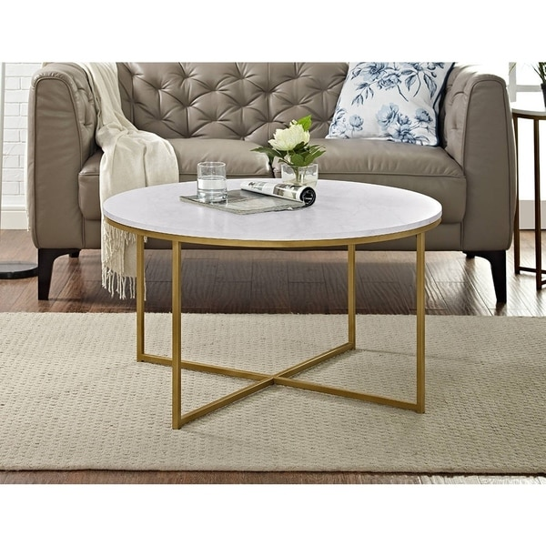 36 Inch Coffee Table With X Base   Gold   Free Shipping Today    Overstock.com   22280994