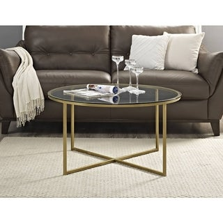 36-inch Coffee Table with X-Base - Gold
