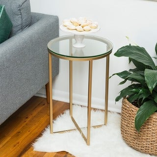 16-inch Round Side Table - Gold