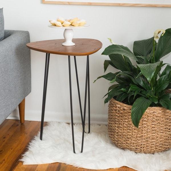 18-inch Hairpin Leg Wood Side Table - Walnut