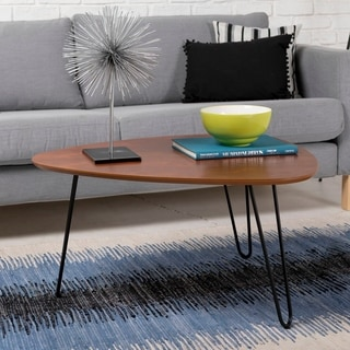32-inch Hairpin Leg Wood Coffee Table - Walnut