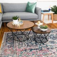 Geometric Modern Oak Nesting Coffee Tables