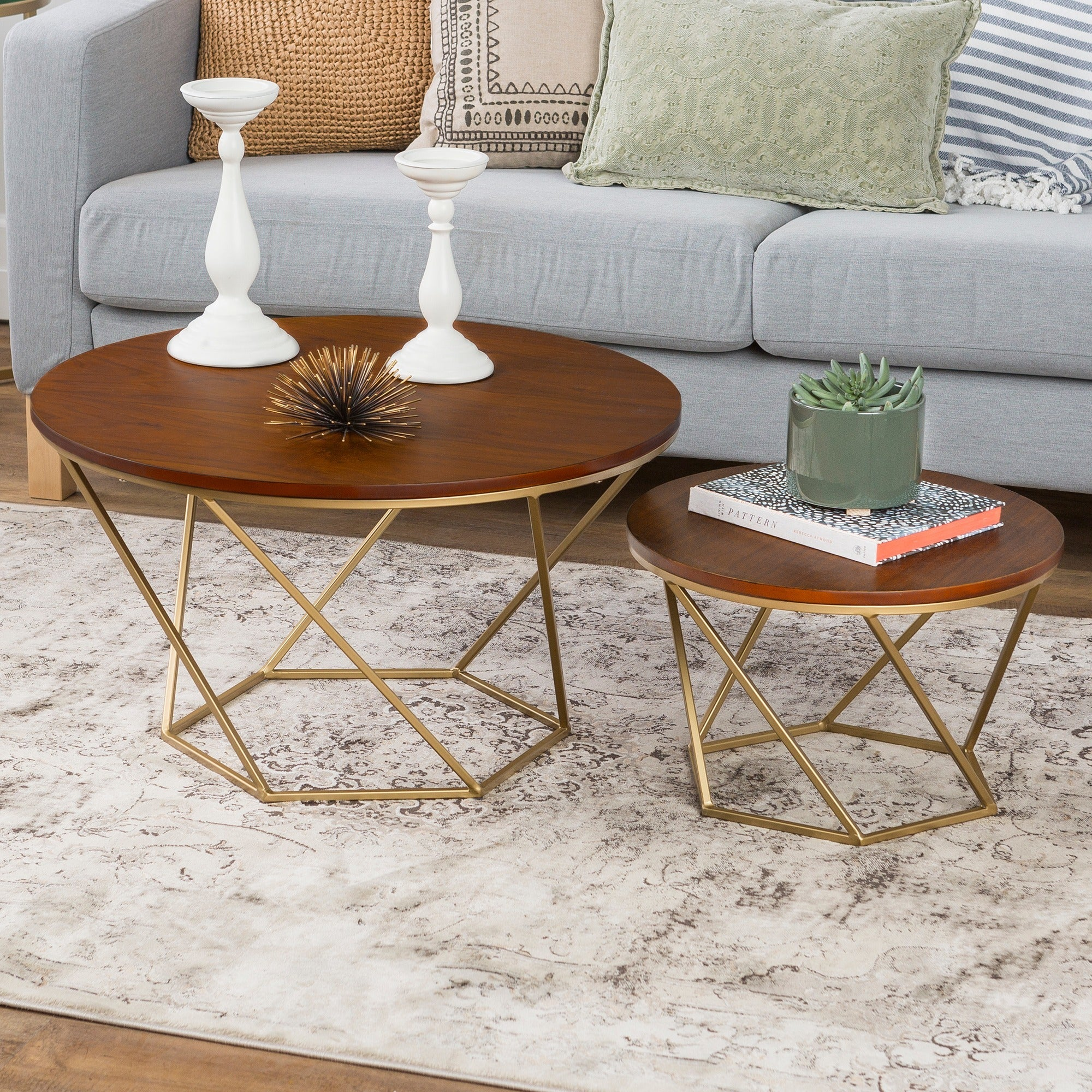 Geometric Wood Nesting Coffee Tables Walnut 63d531ad 3676 4c3f 8f96 f78eafc8534b Top Result 50 Best Of Gold and Glass Coffee Table Image 2017 Ksh4