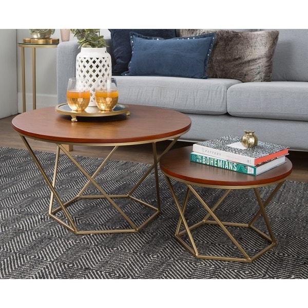 Geometric Wood Nesting Coffee Tables Walnut Free Shipping