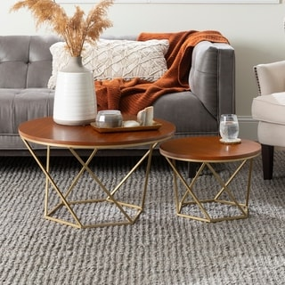Silver Orchid Grant Geometric Wood Nesting Coffee Tables - 28 x 28 x 16h