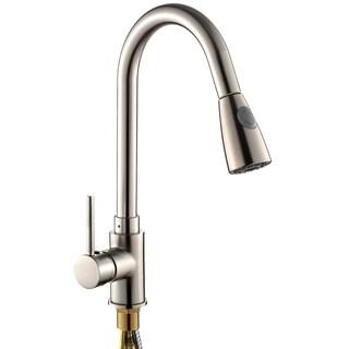pullout chrome kitchen sink faucet one handle spout spray swivel