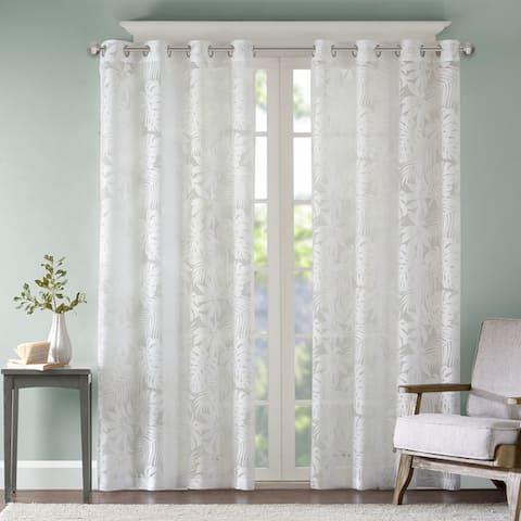 Madison Park Kauna White Palm Leaf Burnout Grommet Single Window Curtain Panel