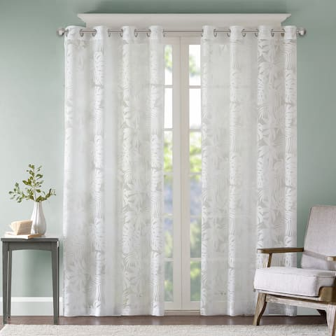 Madison Park Kauna White Palm Leaf Burnout Grommet Single Window Curtain Panel