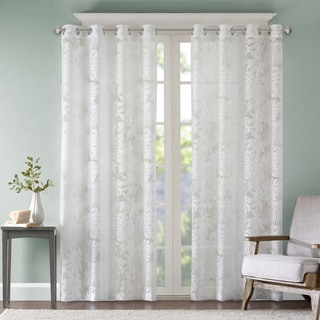 Link to Madison Park Kauna White Palm Leaf Burnout Grommet Single Window Curtain Panel Similar Items in Window Treatments