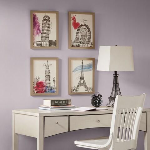 Intelligent Design European Summer Days Multi Framed Gel Coated Paper 4 Piece Set