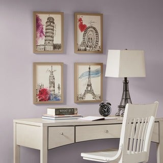 Intelligent Design European Summer Days Multi Framed Gel Coated Paper 4 Piece Set