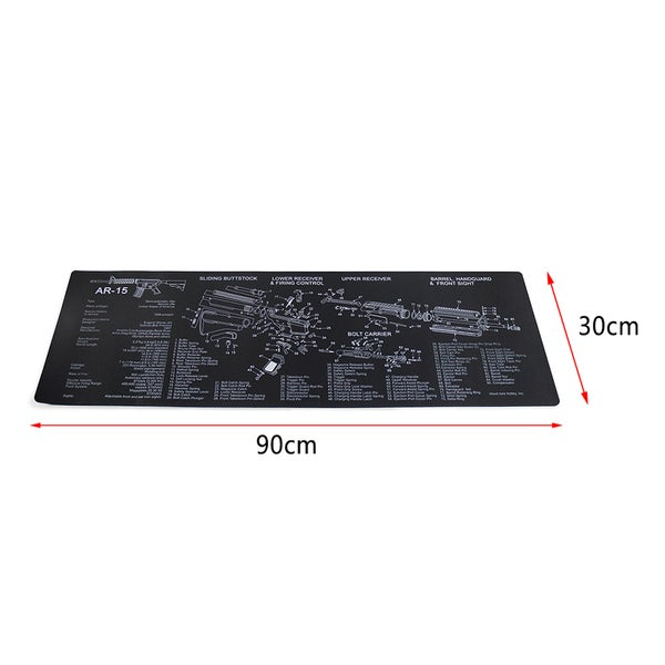 Rubber Armorers Cleaning Bench Mat AR-15 Schematic Mat (35-inch x 11-inch)