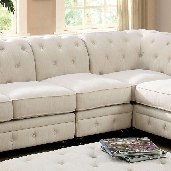 Prime Shop Sylvana Traditional Tufted Linen Like Fabric Armless Spiritservingveterans Wood Chair Design Ideas Spiritservingveteransorg