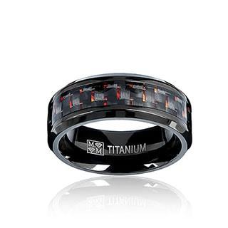 Oliveti Black Plated Titanium Men's Black and Red Carbon Fiber Comfort Fit Band (8mm)