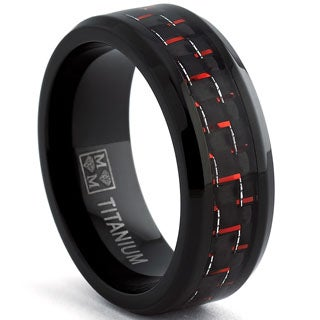 Oliveti Black Plated Titanium Men's Black and Red Carbon Fiber Comfort Fit Band (8mm)
