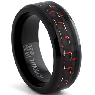 Oliveti Blackplated Titanium Men's Black and Red Carbon Fiber Comfort Fit Band (8mm)