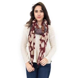 Zodaca Burgundy Fashion Women Ladies Lightweight Blots and Stripe Print Scarf Shawl Wrap for Women