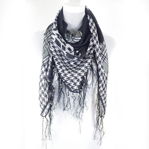Zodaca Fashion Lightweight Houndstooth with Cheetah and Checked print square fringe 100% Silk Scarf for Women