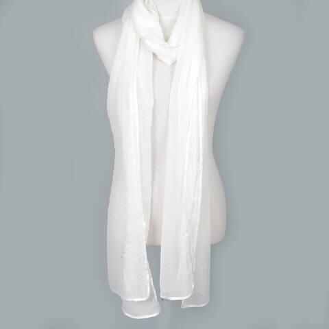 Zodaca Ivory White Fashion Women Ladies Lightweight Elegant Extra Long Chiffon Scarf for Women
