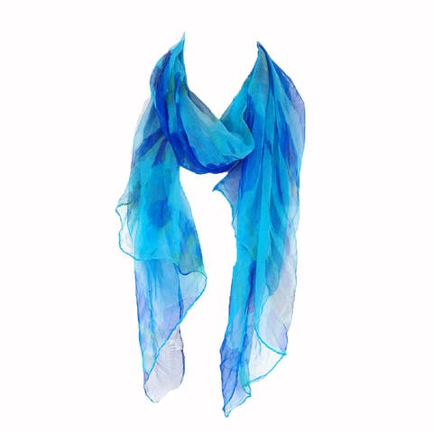 Zodaca Blue Fashion Women Ladies Lightweight Soft 100-percent Chiffon Scarf Wrap Shawl