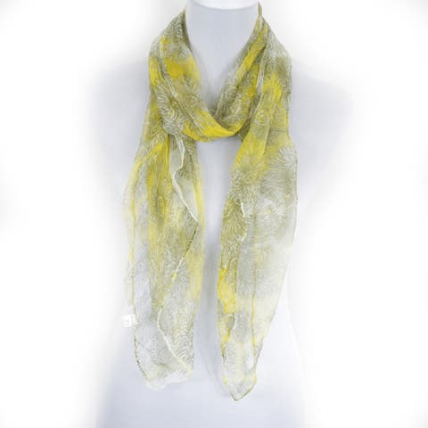 Zodaca Yellow/ Grey Fashion Women Ladies Lightweight Soft 100% Silk Scarf Wrap Shawl for Women