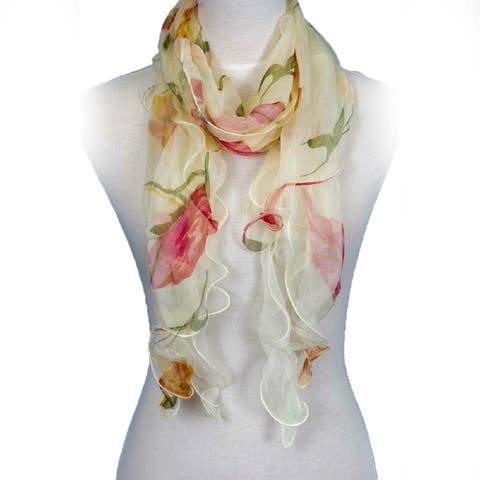 0b6c6f7b16445 Zodaca Fashion Women Ladies Lightweight Double Layer Chiffon Floral Ruffle  Summer Silk Scarf